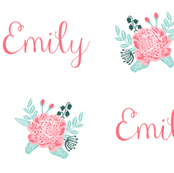 Emily custom name floral bouquet small scale