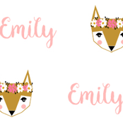Emily fox head cute customized girl's name fabric