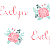 Evelyn personalized floral girl's name