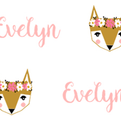 Evelyn fox head floral crown personalized fabric