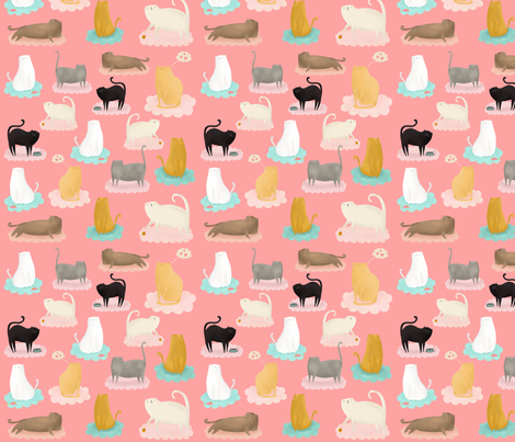 Kitty Cat Clouds fabric by katievaz on Spoonflower - custom fabric
