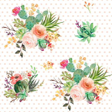 "8"" She is Fierce Florals / Polka Dots Peach / MIX & MATCH fabric by shopcabin on Spoonflower - custom fabric"