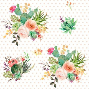 "8"" She is Fierce Florals / Polka Dots Peach / MIX & MATCH"
