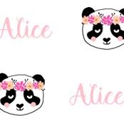 Alice customized panda head girl's name