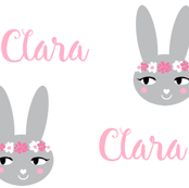 Clara bunny head fabric personalized name