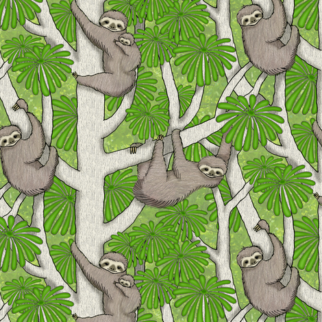 Rainforest Sloths fabric by sufficiency on Spoonflower - custom fabric