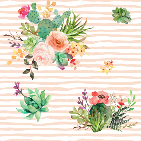 "8"" She is Fierce Floral Stripes / PEACH fabric by shopcabin on Spoonflower - custom fabric"