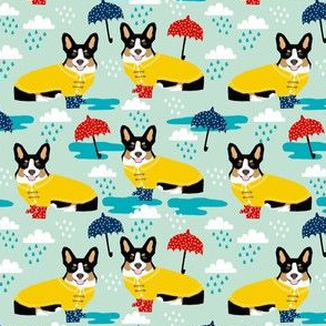 Corgi raincoats tri colored corgis - medium scale