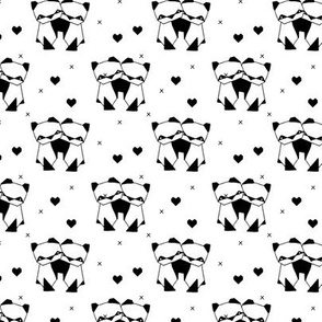 Origami love animals cute panda geometric triangle and scandinavian style print black and white gender neutral