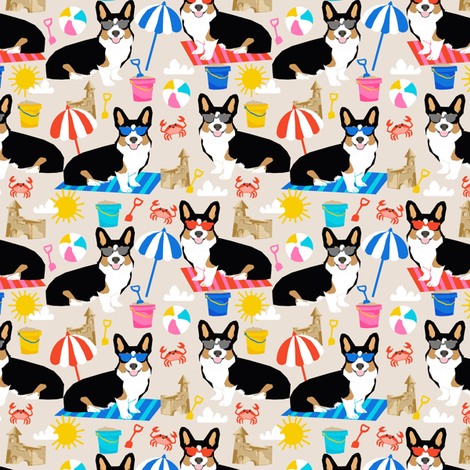 Corgi sandcastles beach day tri colored - medium scale fabric by petfriendly on Spoonflower - custom fabric