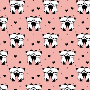 Origami love animals cute panda geometric triangle and scandinavian style print black and white girls pastel pink