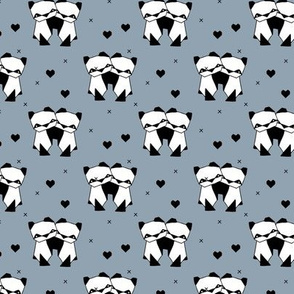 Origami love animals cute panda geometric triangle and scandinavian style print black and white stone gray blue