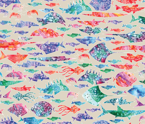 Geometric Watercolor Fish fabric by matite on Spoonflower - custom fabric