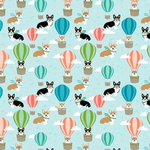 Corgis hot air balloon tricolored and red - small scale