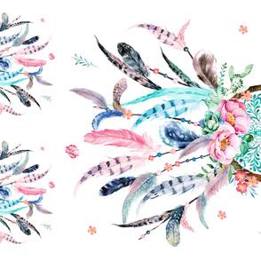 """2 - 17"""" Pillows & 1 - 36"""" MINKY Blanket / Pink & Aqua Dream Catcher"""
