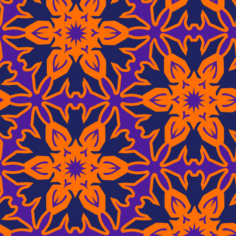 Batflake with Orange and Purple fabric by eclectic_house on Spoonflower - custom fabric