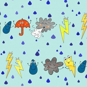 Storm dance party - lightning, wind clouds and rain drops