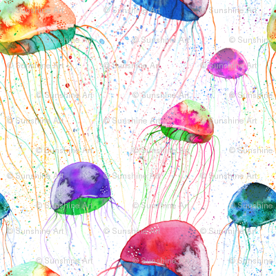 watercolor colorful jellyfish