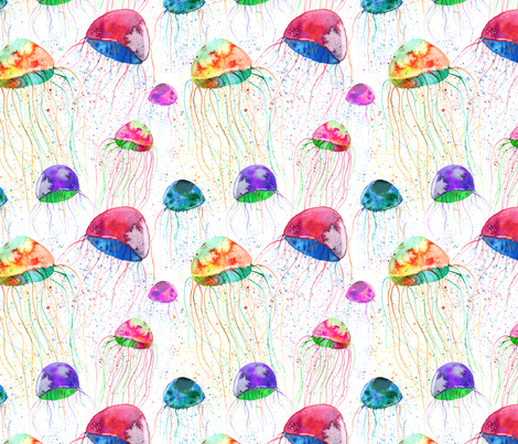 watercolor colorful jellyfish fabric by sunshine_art on Spoonflower - custom fabric