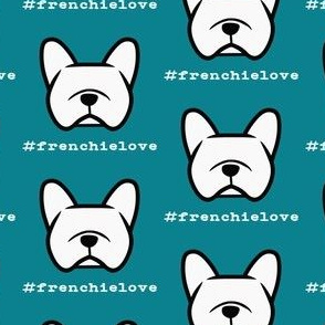 #frenchielove - French Bulldog fabric with cute dogfaces