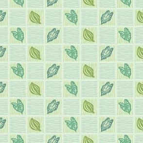 Basket Weave Green Leaf