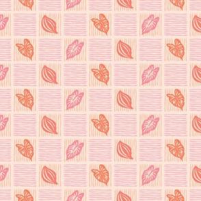 Basket Weave Pink Leaf