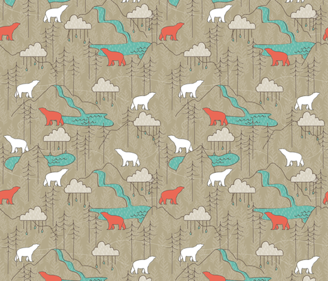 Spirit Bear fabric by papercanoefabricshop on Spoonflower - custom fabric