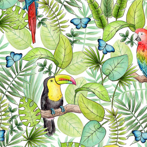 Tropical Rainforest fabric by hazel_fisher_creations on Spoonflower - custom fabric