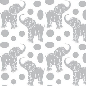 Small Baby Elephants in gray on white