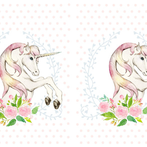 2 to 1 Yard / MINKY / Sweet Floral Unicorn