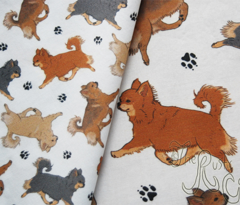 Trotting long coat Chihuahuas and paw prints - tiny white