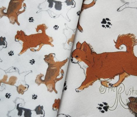 Trotting long coat Chihuahuas and paw prints B - tiny white