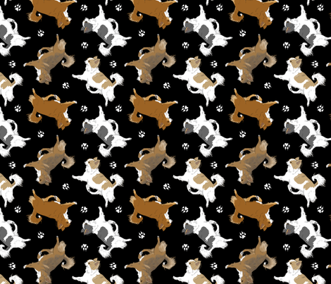 Trotting long coat Chihuahuas and paw prints B - black fabric by rusticcorgi on Spoonflower - custom fabric