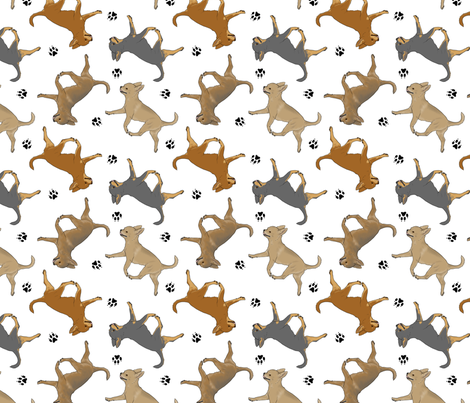 Trotting smooth coat Chihuahuas and paw prints - white fabric by rusticcorgi on Spoonflower - custom fabric