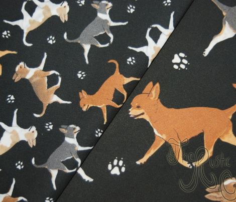 Trotting smooth coat Chihuahuas and paw prints B - tiny black