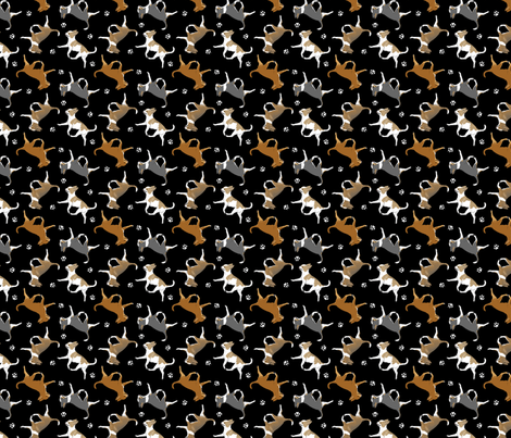 Trotting smooth coat Chihuahuas and paw prints B - tiny black fabric by rusticcorgi on Spoonflower - custom fabric