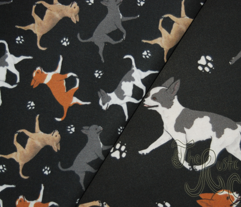 Trotting smooth coat Chihuahuas and paw prints C - tiny black