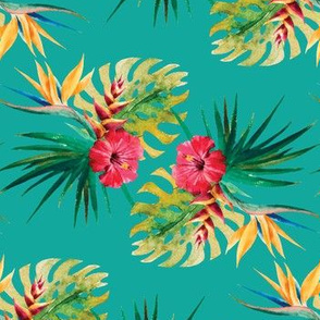 Tropical Hibiscus Palm Leaf Frawn Flowers Water Color on Teal