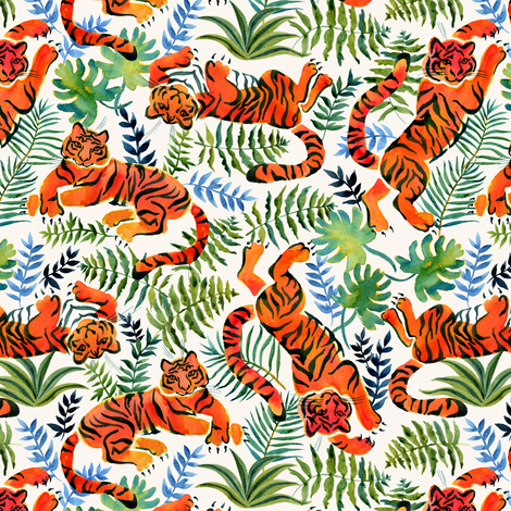 lazy tigers fabric by solnca_lych on Spoonflower - custom fabric