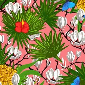 Coral Pink Tropical // Hawaiian Floral . butterflies & pineapples♥