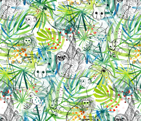 Endangered in the Rainforest - © Lucinda Wei fabric by lucindawei on Spoonflower - custom fabric