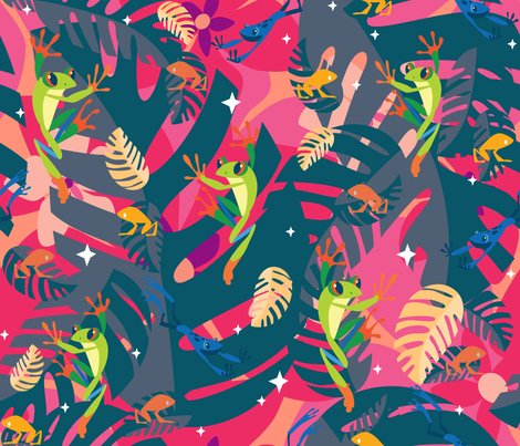 Twilight Frogs fabric by hollybender on Spoonflower - custom fabric