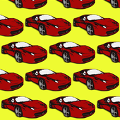 Ferrari race car fabric pattern in yellow and red