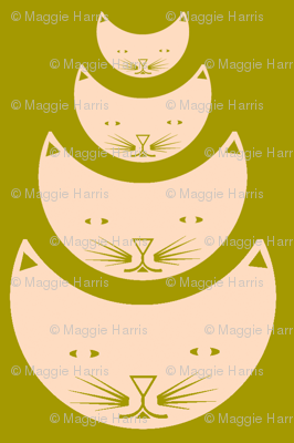 Nesting kitty cats in pretty moss green and blush pink