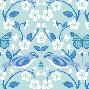 sparrow and cherry blossoms blue/aqua