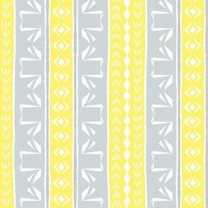 Tribal Swan Stripe Yellow & Grey