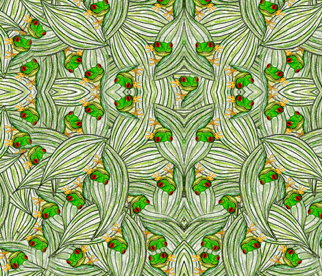 Rainforest Red Eyed Tree Frogs fabric by ally_the_junebug on Spoonflower - custom fabric