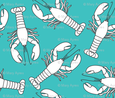 white lobsters-on-teal
