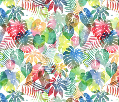 Watercolor Jungle fabric by sarahjean on Spoonflower - custom fabric