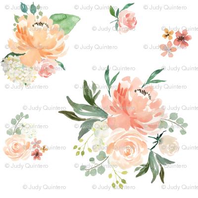 """8"""" Spring Friends  Florals / White"""